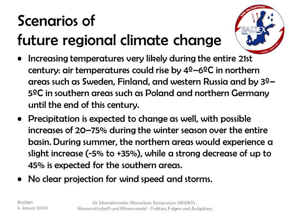 Scenarios of future regional climate change
