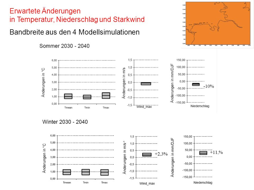 Erwartete Änderungen in Temperatur, Niederschlag und Starkwind