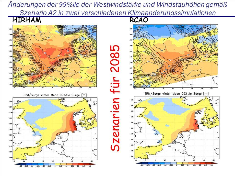 Änderungen der 99%ile der Westwindstärke und Windstauhöhen gemäß Szenario A2 in zwei verschiedenen Klimaänderungssimulationen