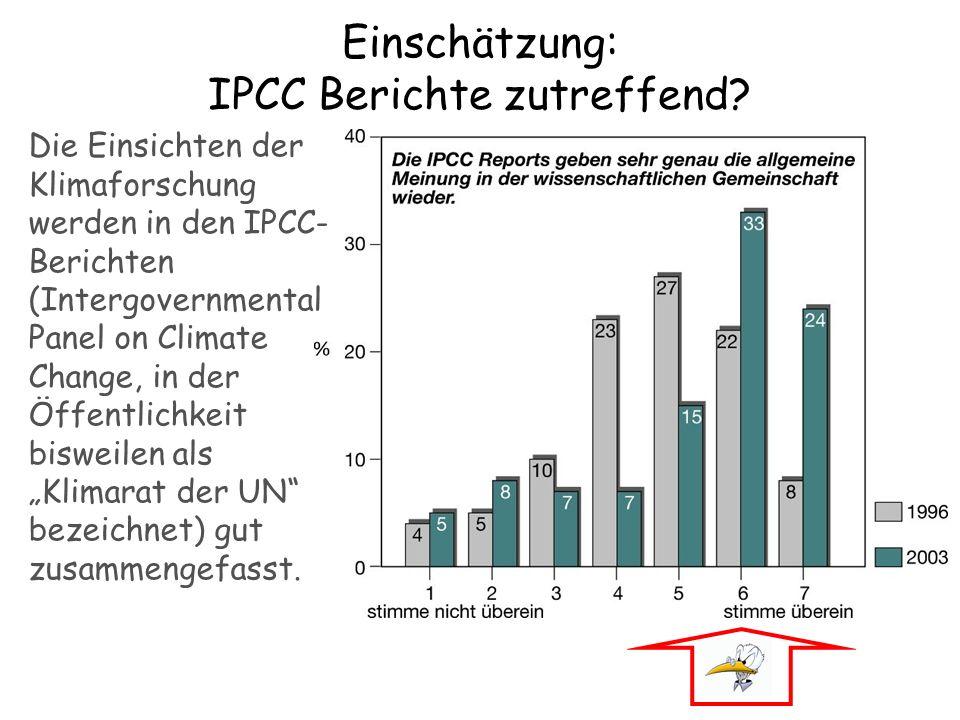 Einschätzung: IPCC Berichte zutreffend
