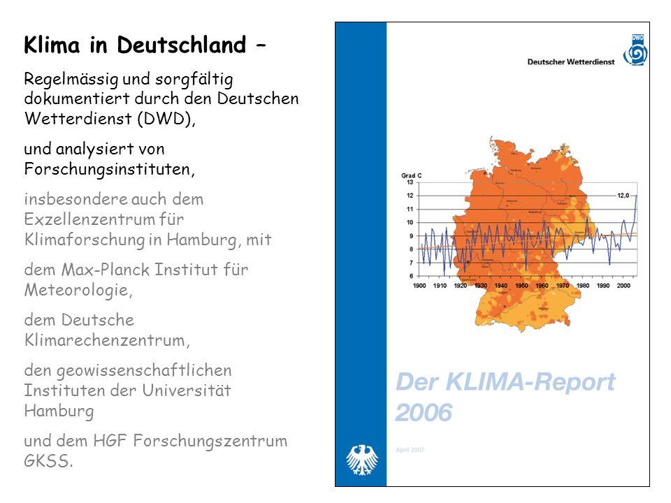 Klima in Deutschland –Regelmässig und sorgfältig dokumentiert durch den Deutschen Wetterdienst (DWD),