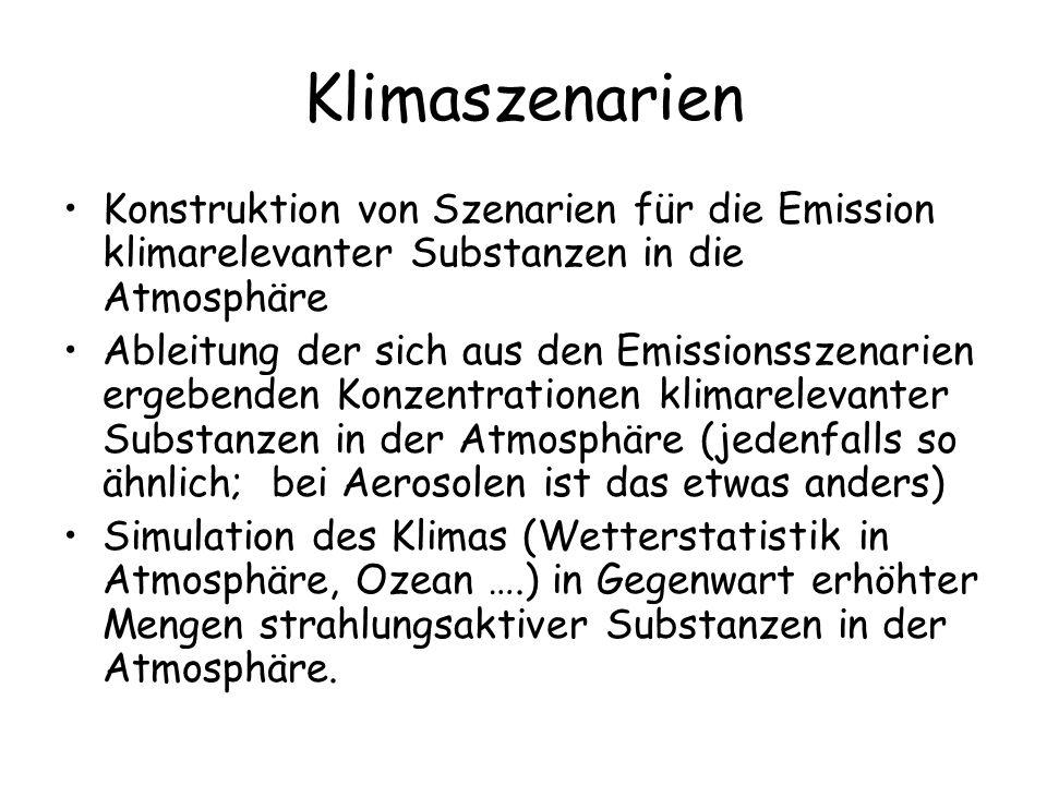 Klimaszenarien Konstruktion von Szenarien für die Emission klimarelevanter Substanzen in die Atmosphäre.