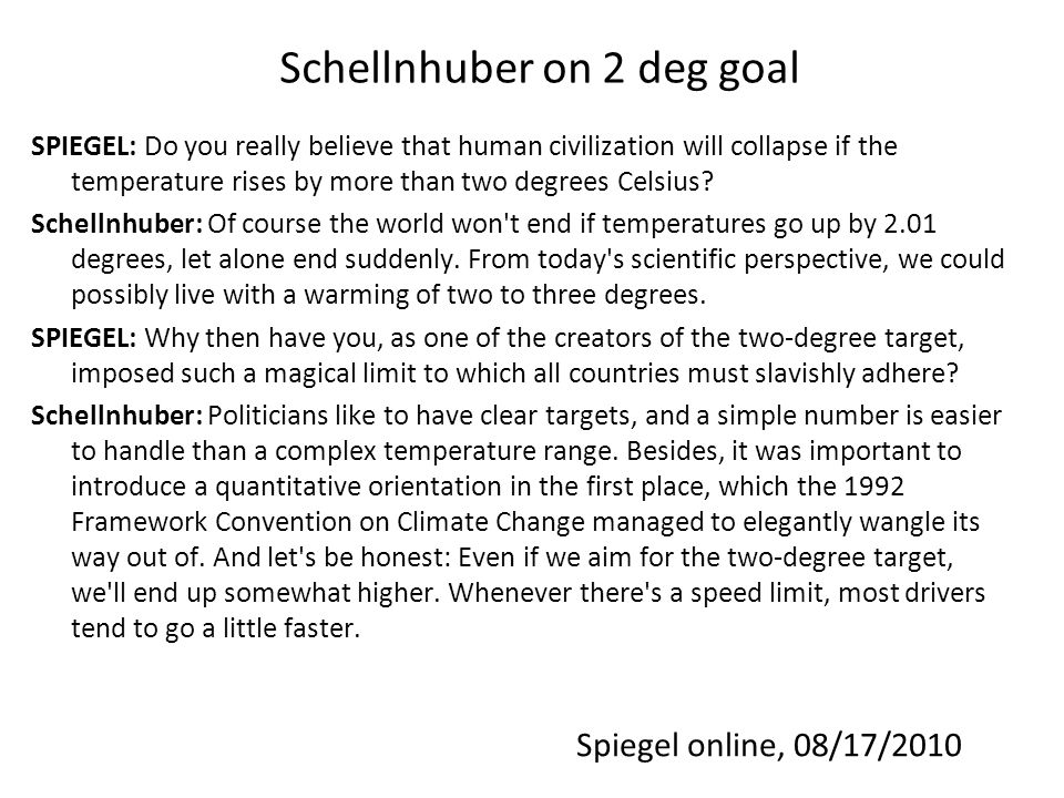 Schellnhuber on 2 deg goal