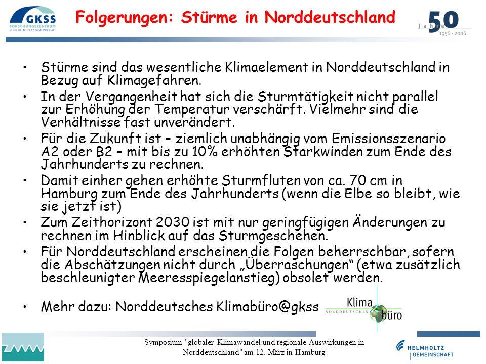 Folgerungen: Stürme in Norddeutschland