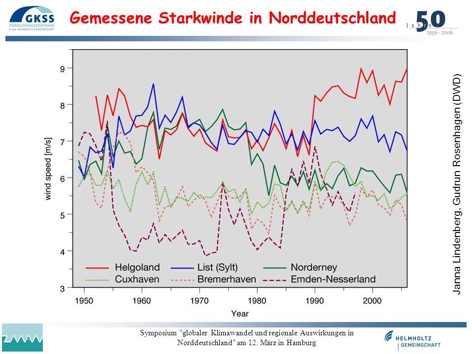 Gemessene Starkwinde in Norddeutschland