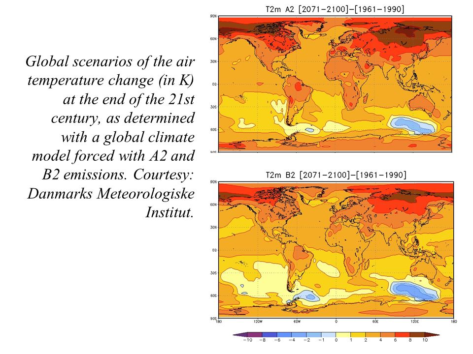 Global scenarios of the air temperature change (in K) at the end of the 21st century, as determined with a global climate model forced with A2 and B2 emissions.