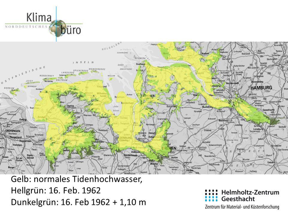 Gelb: normales Tidenhochwasser, Hellgrün: 16. Feb. 1962 Dunkelgrün: 16