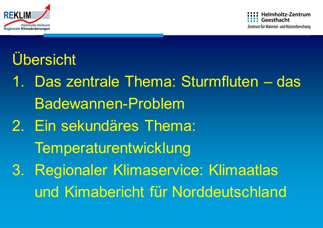 Übersicht Das zentrale Thema: Sturmfluten – das Badewannen-Problem. Ein sekundäres Thema: Temperaturentwicklung.