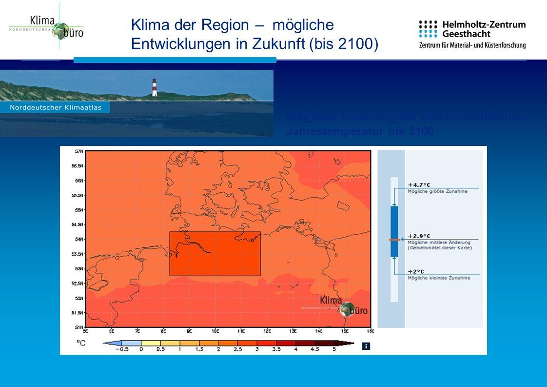 Klima der Region – mögliche Entwicklungen in Zukunft (bis 2100)