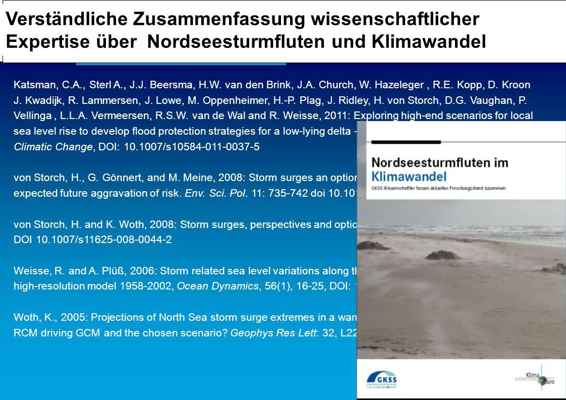 Verständliche Zusammenfassung wissenschaftlicher Expertise über Nordseesturmfluten und Klimawandel