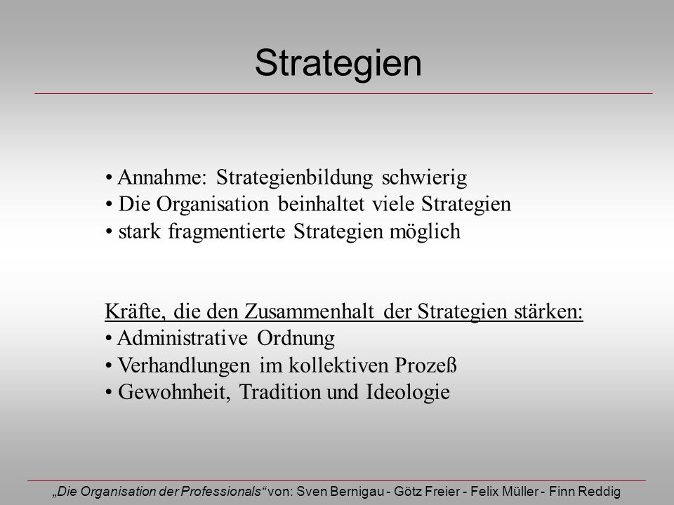 Strategien Annahme: Strategienbildung schwierig