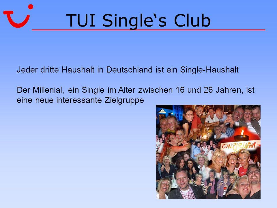 TUI Single's ClubJeder dritte Haushalt in Deutschland ist ein Single-Haushalt.