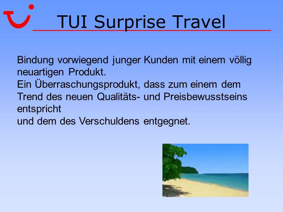 TUI Surprise Travel Bindung vorwiegend junger Kunden mit einem völlig neuartigen Produkt.