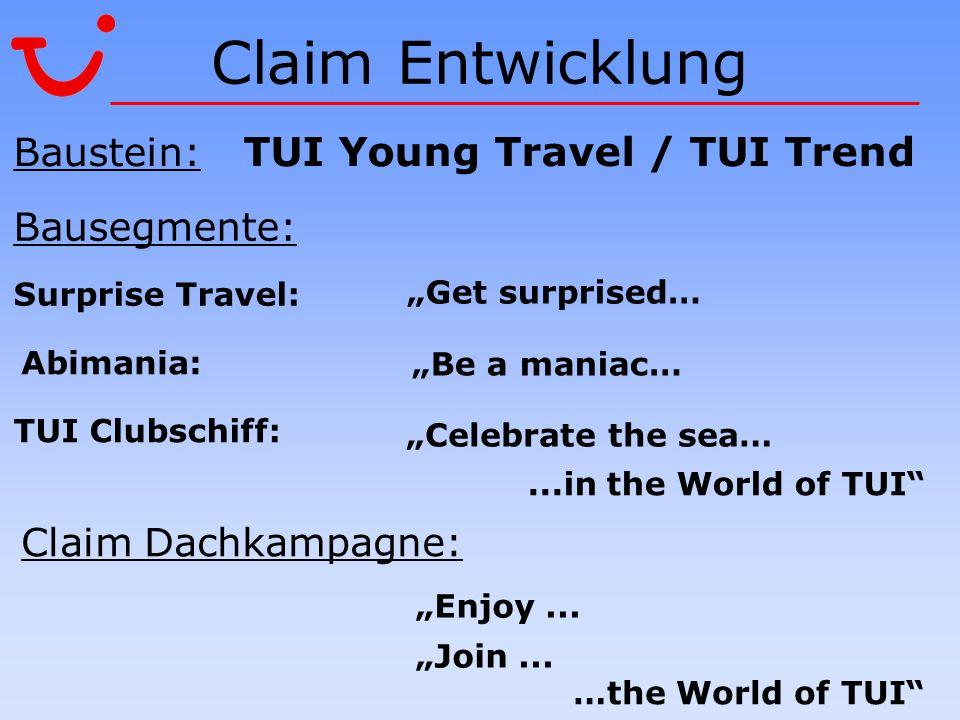 Claim Entwicklung Baustein: TUI Young Travel / TUI Trend Bausegmente: