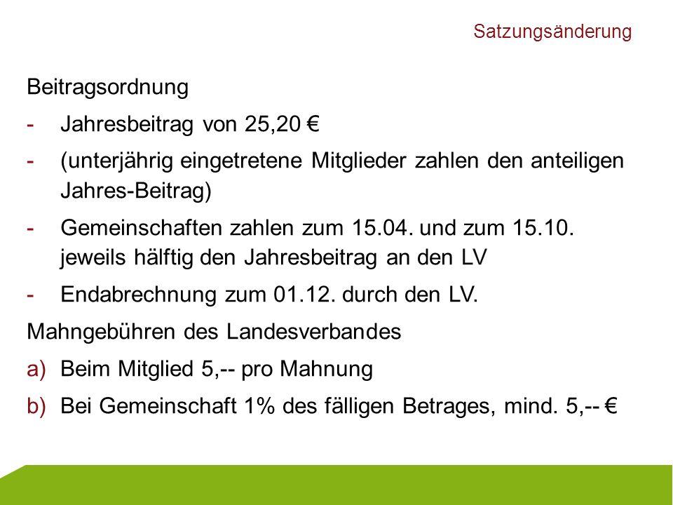 Endabrechnung zum 01.12. durch den LV.