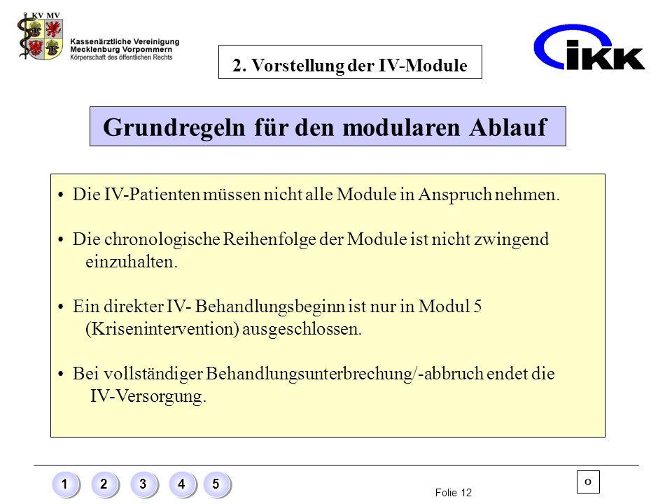 2. Vorstellung der IV-Module Grundregeln für den modularen Ablauf