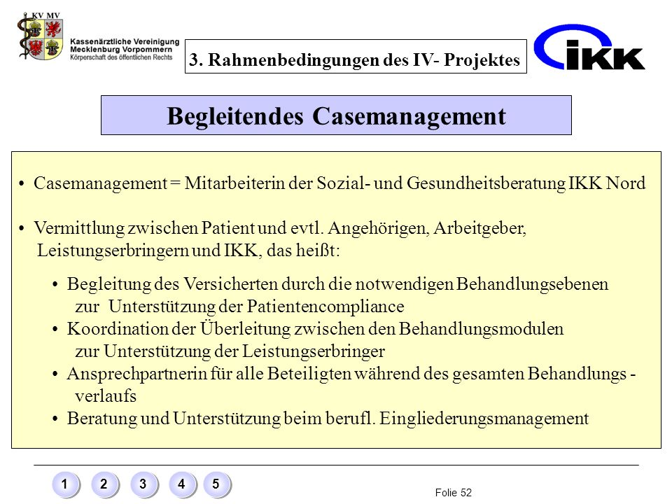 3. Rahmenbedingungen des IV- Projektes Begleitendes Casemanagement