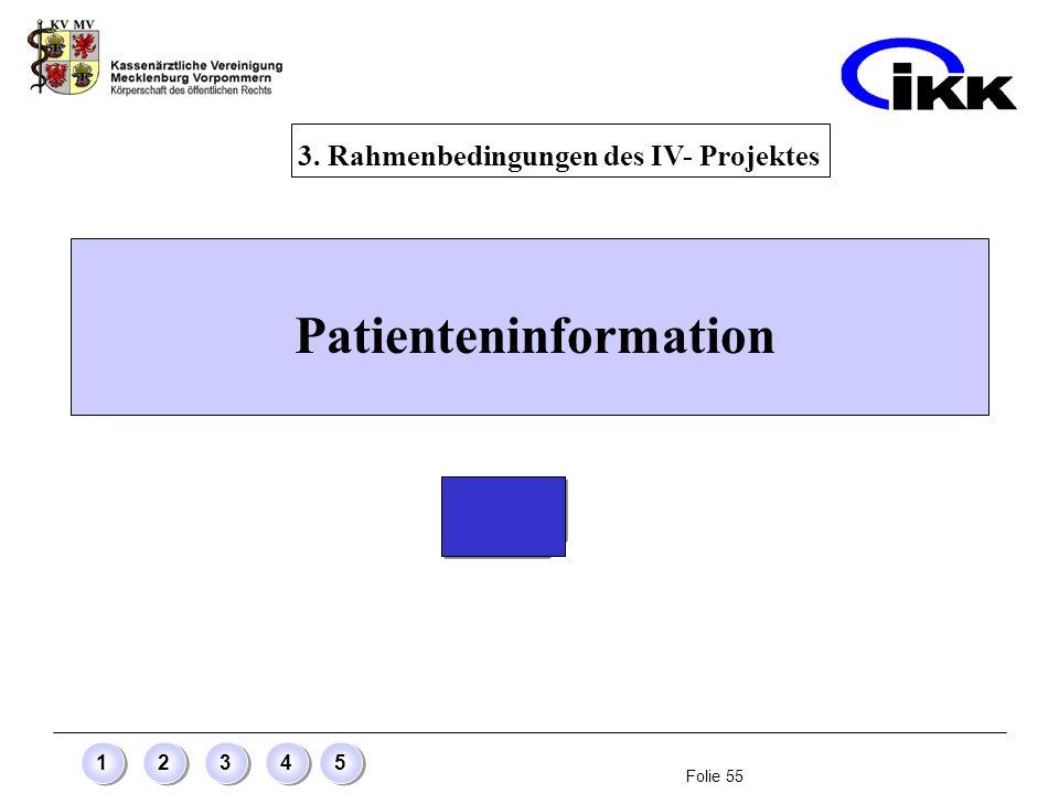 3. Rahmenbedingungen des IV- Projektes Patienteninformation