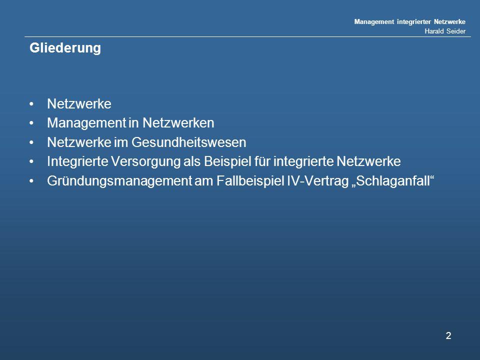 Gliederung Netzwerke. Management in Netzwerken. Netzwerke im Gesundheitswesen. Integrierte Versorgung als Beispiel für integrierte Netzwerke.