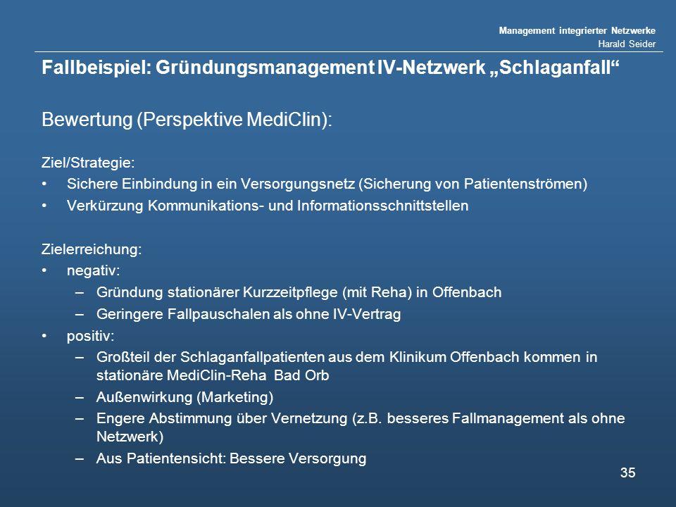 """Fallbeispiel: Gründungsmanagement IV-Netzwerk """"Schlaganfall"""