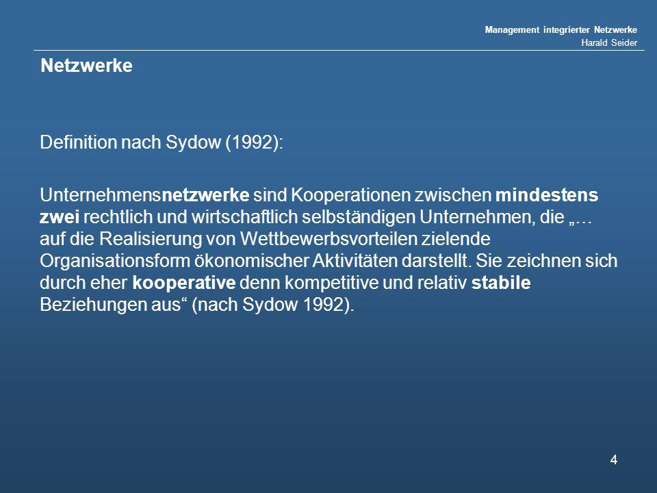 Netzwerke Definition nach Sydow (1992):