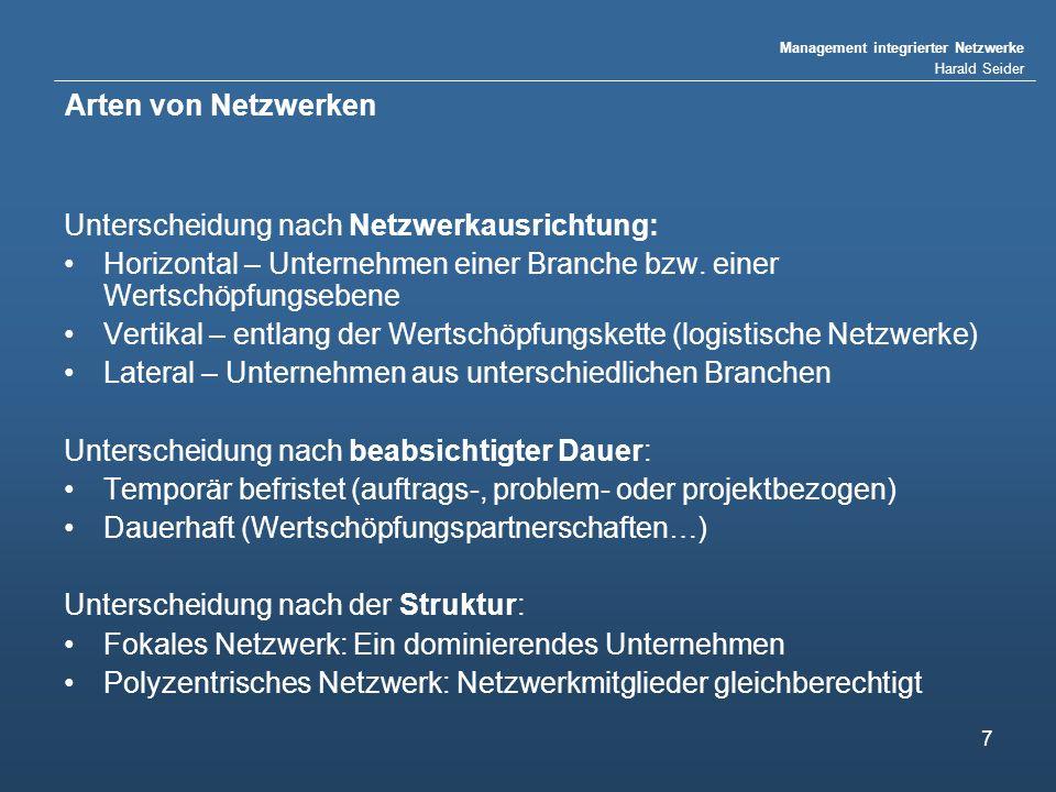 Arten von Netzwerken Unterscheidung nach Netzwerkausrichtung: Horizontal – Unternehmen einer Branche bzw. einer Wertschöpfungsebene.