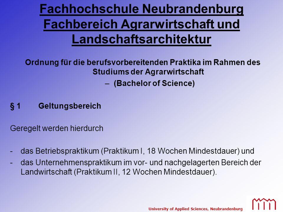 Fachhochschule Neubrandenburg Fachbereich Agrarwirtschaft und Landschaftsarchitektur