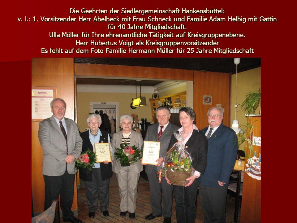 Die Geehrten der Siedlergemeinschaft Hankensbüttel: v. l. : 1