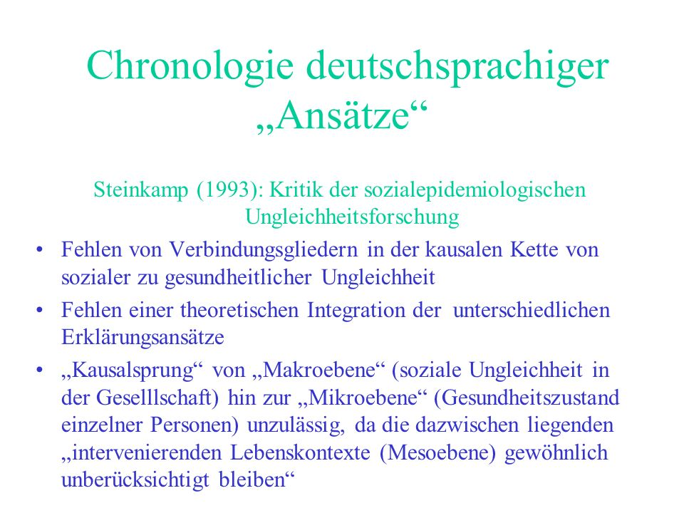 """Chronologie deutschsprachiger """"Ansätze"""