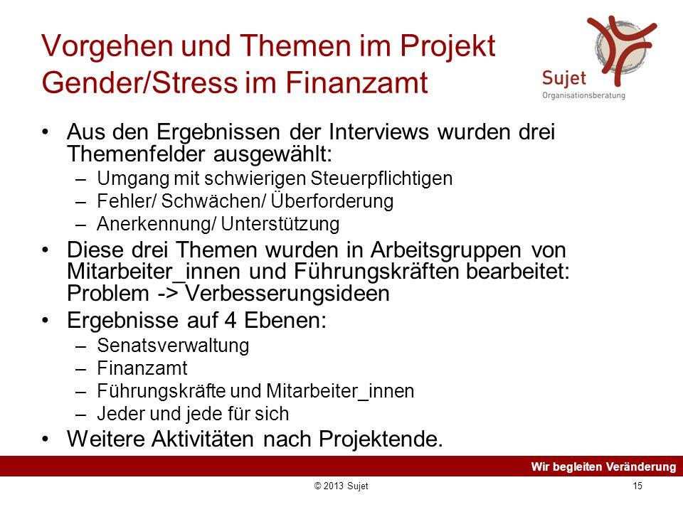 Vorgehen und Themen im Projekt Gender/Stress im Finanzamt