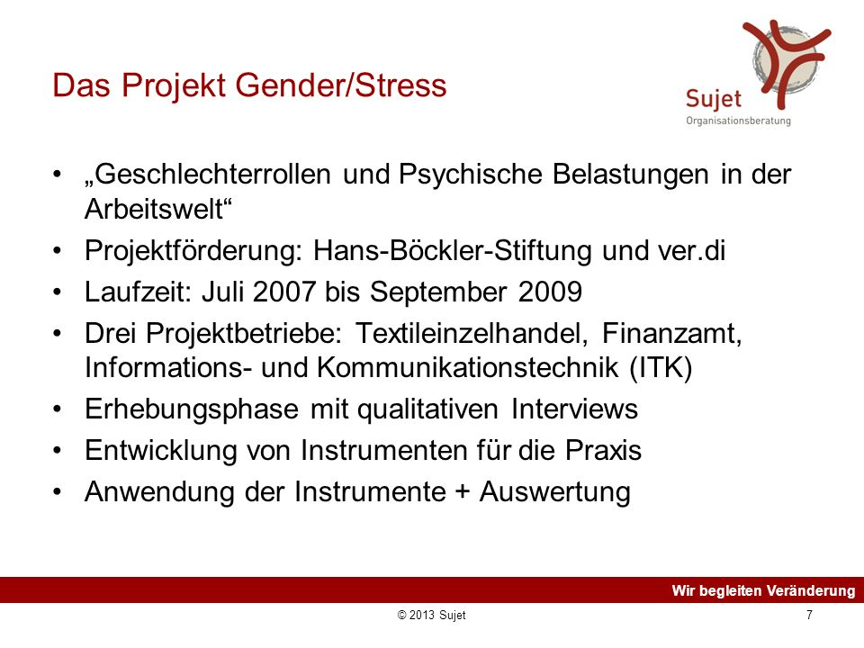 Das Projekt Gender/Stress