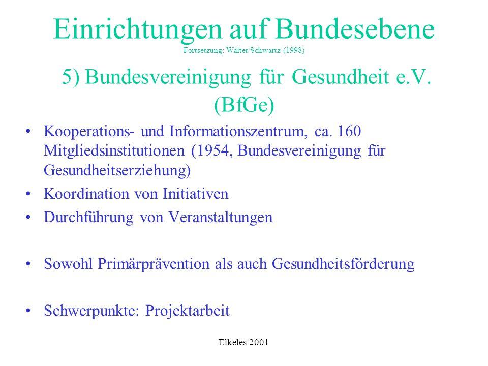Einrichtungen auf Bundesebene Fortsetzung: Walter/Schwartz (1998) 5) Bundesvereinigung für Gesundheit e.V. (BfGe)