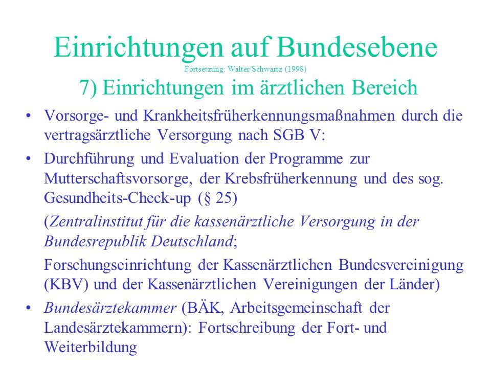 Einrichtungen auf Bundesebene Fortsetzung: Walter/Schwartz (1998) 7) Einrichtungen im ärztlichen Bereich