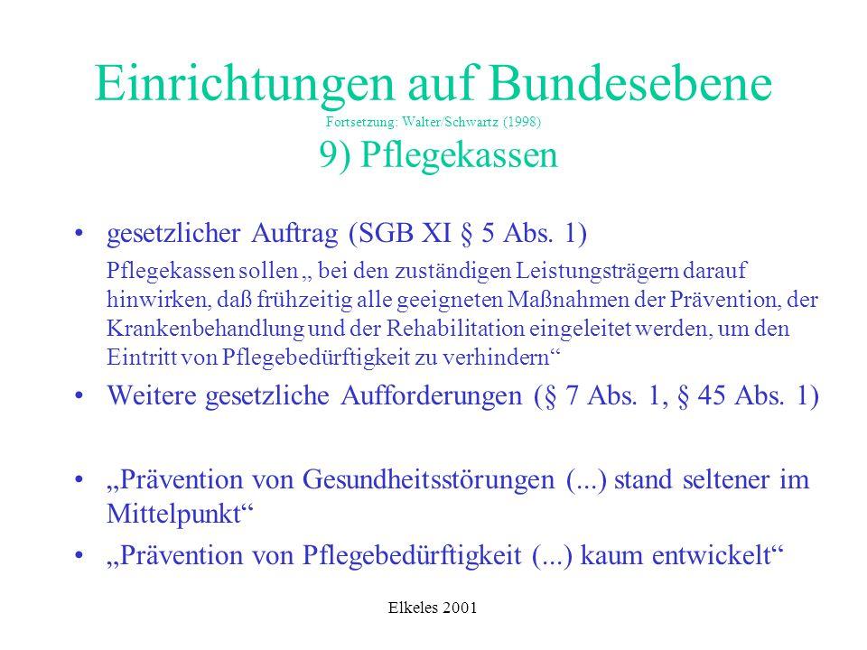 Einrichtungen auf Bundesebene Fortsetzung: Walter/Schwartz (1998) 9) Pflegekassen