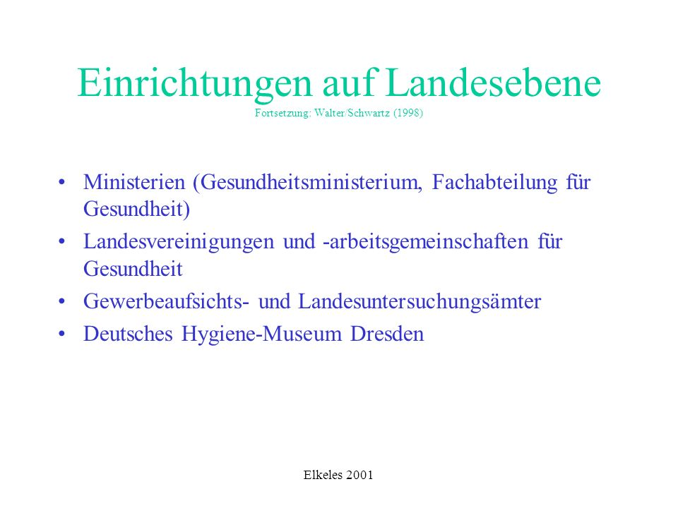 Einrichtungen auf Landesebene Fortsetzung: Walter/Schwartz (1998)