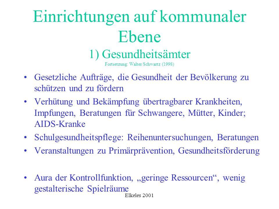 Einrichtungen auf kommunaler Ebene 1) Gesundheitsämter Fortsetzung: Walter/Schwartz (1998)