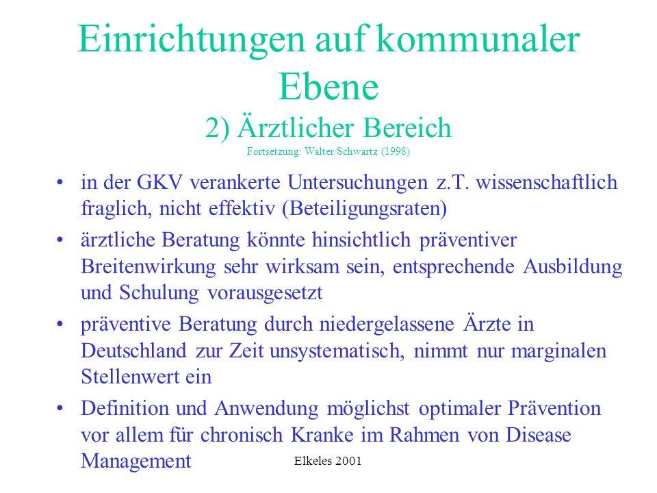 Einrichtungen auf kommunaler Ebene 2) Ärztlicher Bereich Fortsetzung: Walter/Schwartz (1998)