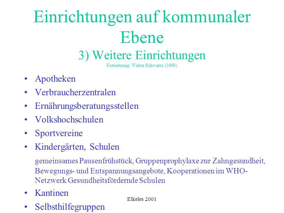 Einrichtungen auf kommunaler Ebene 3) Weitere Einrichtungen Fortsetzung: Walter/Schwartz (1998)