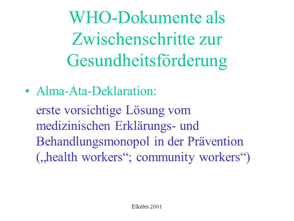 WHO-Dokumente als Zwischenschritte zur Gesundheitsförderung
