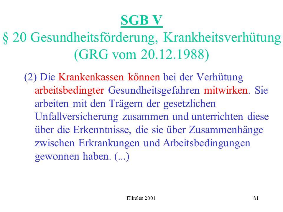 SGB V § 20 Gesundheitsförderung, Krankheitsverhütung (GRG vom 20. 12