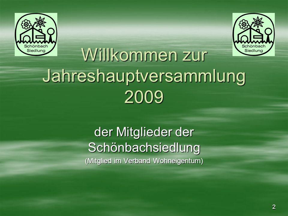 Willkommen zur Jahreshauptversammlung 2009