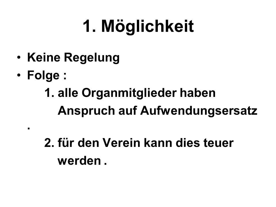 1. Möglichkeit Keine Regelung Folge : 1. alle Organmitglieder haben