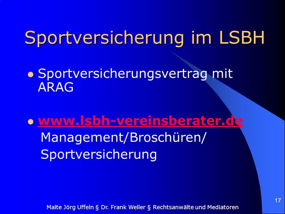 Sportversicherung im LSBH