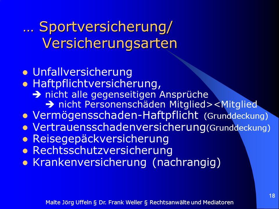 … Sportversicherung/ Versicherungsarten