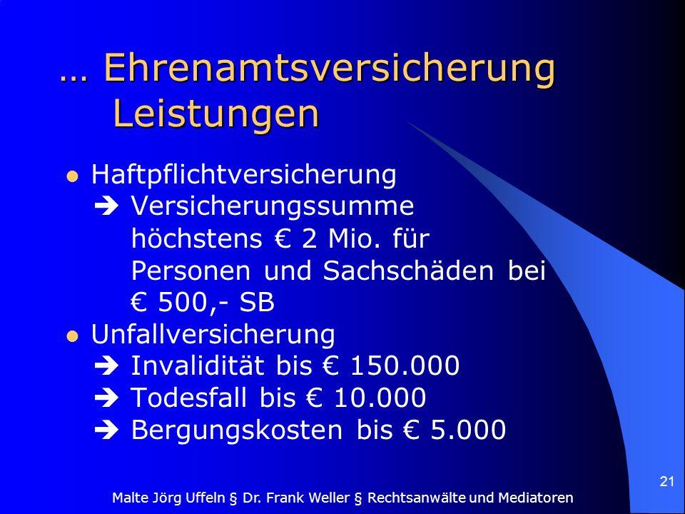 … Ehrenamtsversicherung Leistungen