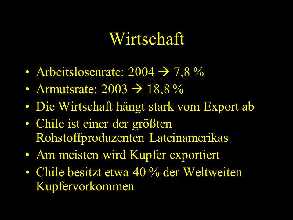 Wirtschaft Arbeitslosenrate: 2004  7,8 % Armutsrate: 2003  18,8 %