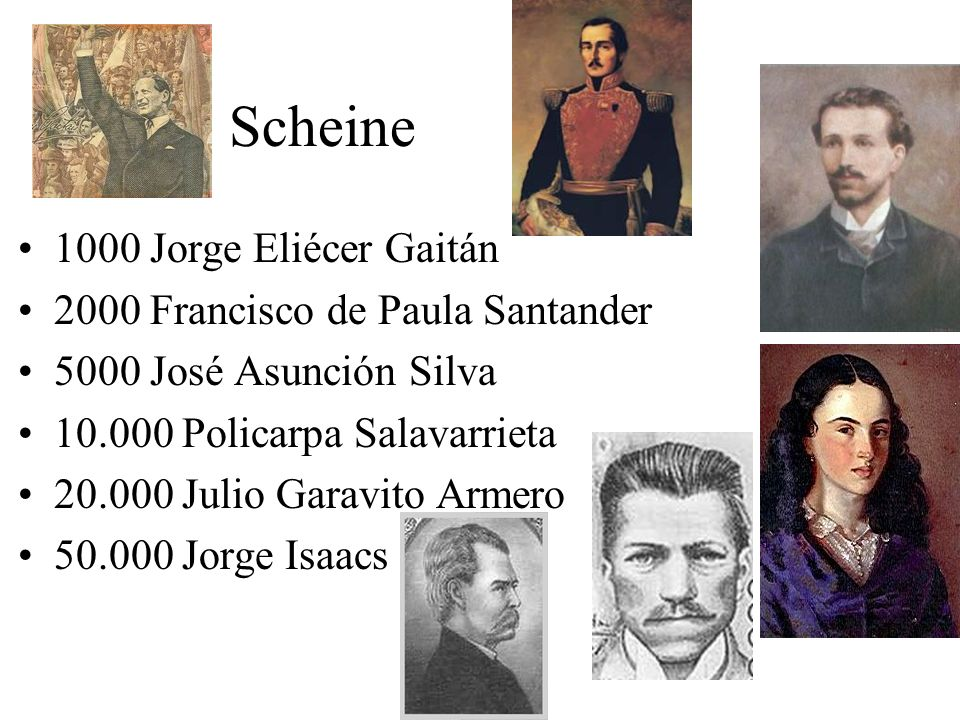Scheine 1000 Jorge Eliécer Gaitán 2000 Francisco de Paula Santander