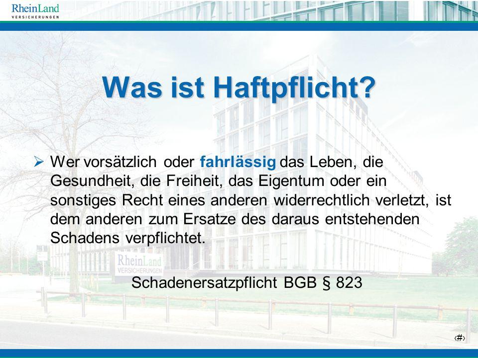 Schadenersatzpflicht BGB § 823