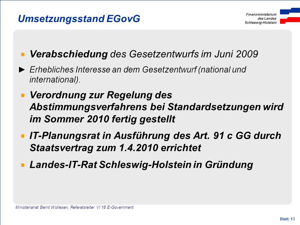 Umsetzungsstand EGovG