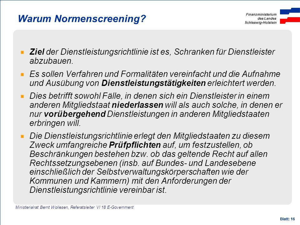 Warum Normenscreening
